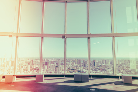 observer: Observation windows  in Tokyo with views of skyscrapers Japan  ( Filtered image processed vintage effect. ) Stock Photo