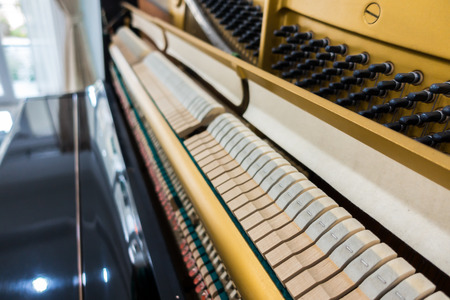 ivories: Close up of Inside the piano with selective focus