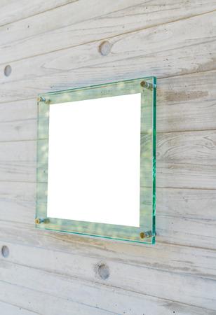 plexiglas: Transparent glass sign