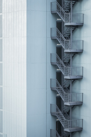 escape: Metal fire escape outside building Stock Photo