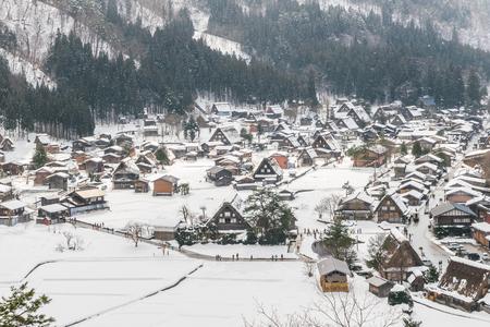 gassho zukuri: Winter Of Shirakawago with snow falling , Japan