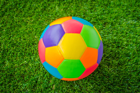 multi colour: Real leather Colorful multi colour  Soccer ball on green grass
