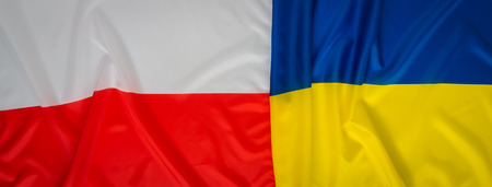poland flag: Ukraine and Poland flag Stock Photo