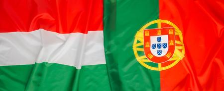 portugal flag: Hungary and Portugal flag Stock Photo
