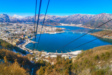 ropeway: JAPAN - FEBRUARY 2, 2016: kawaguchiko lake from kachi ropeway Editorial