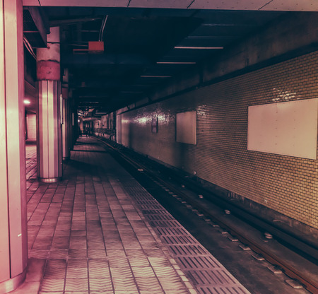 subway station: Japanese Subway Station  ( Filtered image processed vintage effect. )
