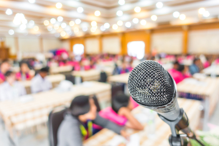lecturing hall: Old Black microphone in conference room