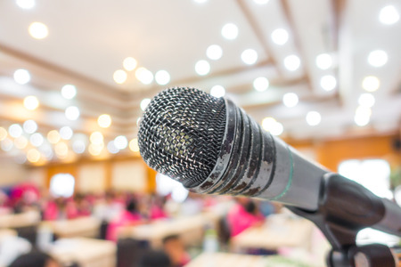 lecturing: Old Black microphone in conference room