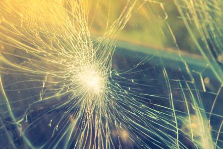 splinters: Glass broken cracks splinters in front of car ( Filtered image processed vintage effect. ) Stock Photo