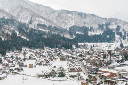 lightup: Winter Of Shirakawago with snow falling , Japan