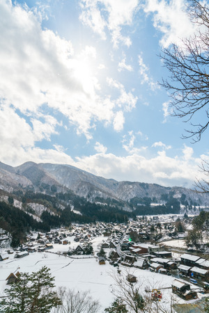 shirakawago: Winter Of Shirakawago with snow falling , Japan