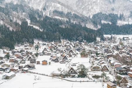 neige qui tombe: Winter Of Shirakawago avec chute de neige, le Japon Banque d'images