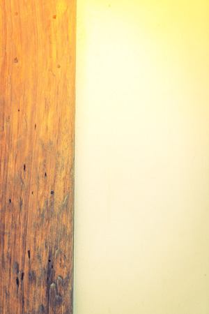 plafond: Cement and wood wall  ( Filtered image processed vintage effect. ) Stock Photo