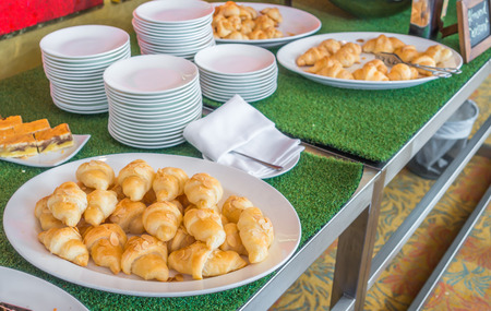 patisserie: Croissant bread on table in buffet Stock Photo