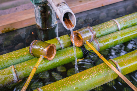 Water running out through bamboo pipe
