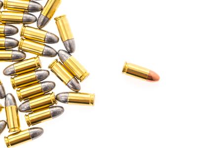 9mm bullet for gun on white background