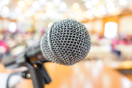 dais: Black microphone in conference room
