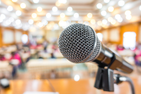 lecturing hall: Black microphone in conference room