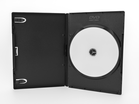 rewritable: Blank compact disc with cover on white background