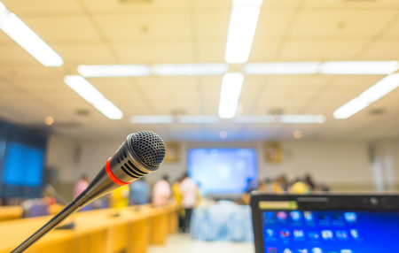 Black microphone in conference room ( Filtered image processed vintage effect. ) Stock Photo