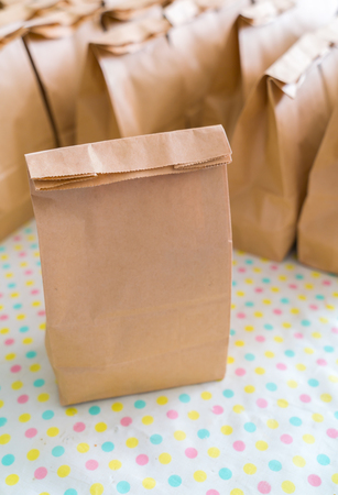 paper bags: Brown paper bags on table