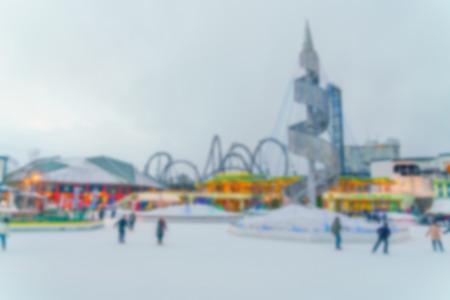 iceskates: Abstract blur playing ice skating Stock Photo
