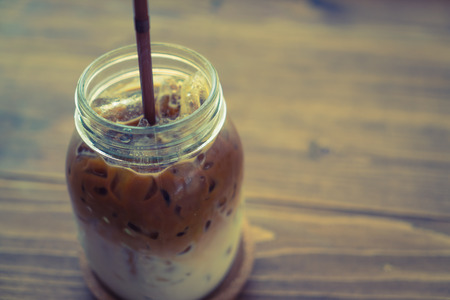 macchiato: Ice coffee ( Filtered image processed vintage effect. )