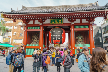 TOKYO, JAPAN - November  24, 2015: Tourists visit to Sensoji Temple  of Asakusa, Tokyo, Japan. The temple is the oldest in all of Tokyo Editorial