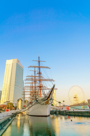 maru: YOKOHAMA, JAPAN - November 24: Nippon Maru in Yokohama, Japan on November 24, 2015. Nippon Maru was a training ship for the cadets of the Japanese merchant marine. She was built in 1930.