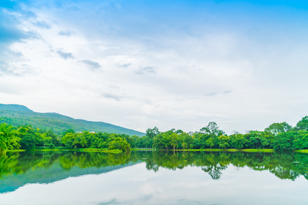 Beautiful green park with lake , Ang Kaew at Chiang Mai University in Thailand