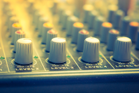 knobs: Music mixer desk with various knobs ( Filtered image processed vintage effect. ) Stock Photo