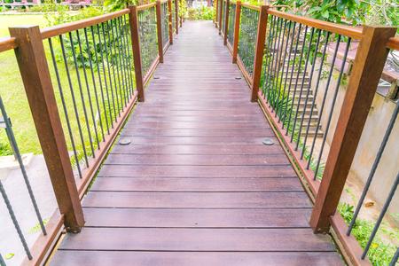 Wood bridge in the garden