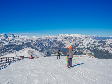 mammoth lakes: MAMMOTH LAKES, CA - November 8  2015, Beautiful day at Mammoth Mountain Ski Area in the eastern Sierra Nevada mountains of California Stock Photo
