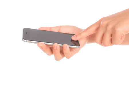 phone business: Business hand with mobile phone Stock Photo