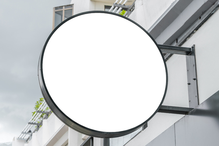 shop sign: Round shop sign outdoor