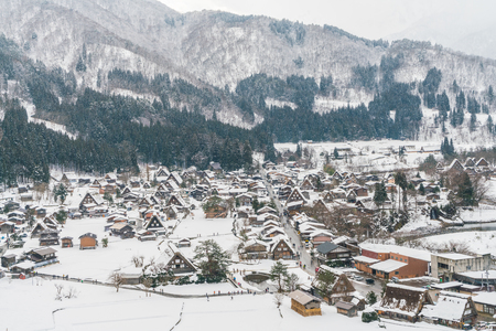 gassho zukuri: Winter Of Shirakawago with snow falling , Japan