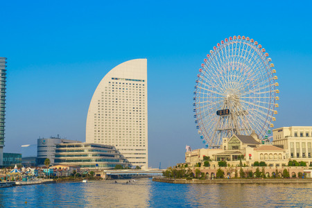 cosmo: Yokohama,Japan - November 24,2015 : Ferris wheel at cosmo world fun park at minato mirai , Yokohama is the third biggest city in Japan. Editorial