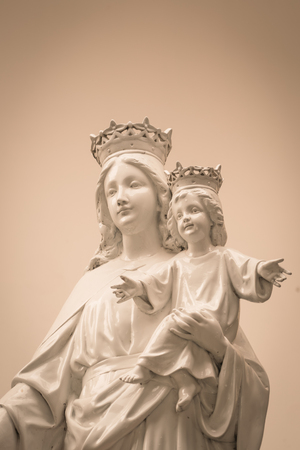 paternal: Virgin Mary and baby Jesus  ( Filtered image processed vintage effect. )