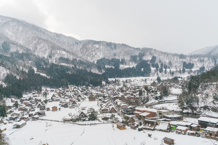 snow falling: Winter Of Shirakawago with snow falling , Japan