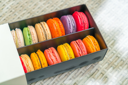 French colorful macarons on table