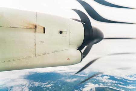 Polonia: Plane propeller seen through the window