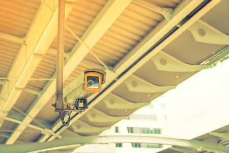 larceny: Security camera ( Filtered image processed vintage effect. ) Stock Photo