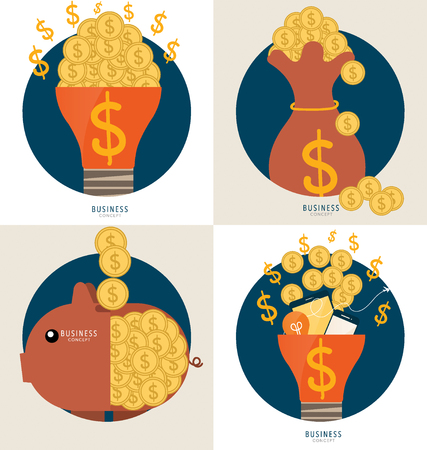 Business concept. Light bulb and Saving money bag with money coins. Vector illustration