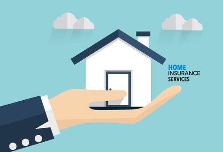 El seguro de hogar Servicio. ilustración vectorial concepto de seguro.