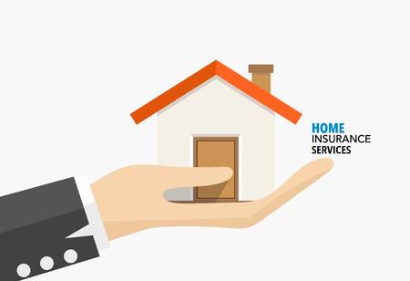 El seguro de hogar Servicio. ilustración vectorial concepto de seguro. Ilustración de vector