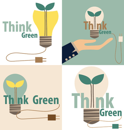 Think green, Eco concept. Light bulb with tree inside. Vector illustration Illustration