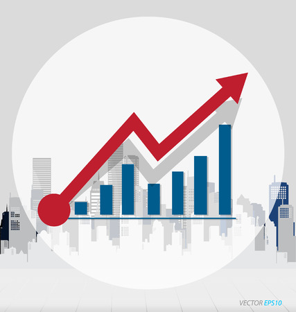 growth chart: Growth chart with building background. Vector illustration