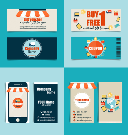 Modern Business Card Template With Business Concept Online Shopping
