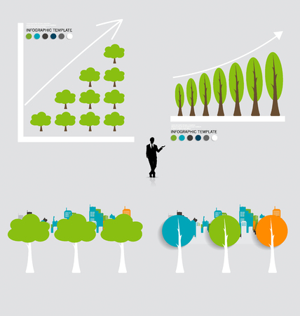 green economy: Green economy concept : Graph of growing sustainable environment with business. Vector illustration.