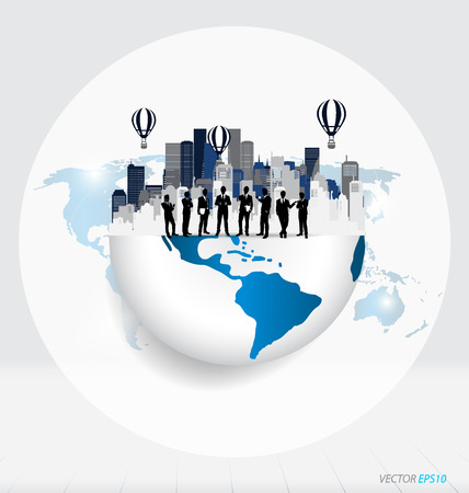 on top of the world: Globe and building with businessman, can use for business concept. Vector illustration.